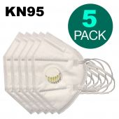 KN95 Protection Mask With Breathing Valve, 5 PC SET White CE Certified