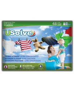 USolve™ Laundry Detergent Strips - Unscented - 48 Loads- In Plastic-Free Packaging
