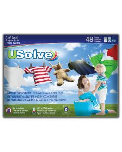 USolve™ Laundry Detergent Strips - Fresh Scent - 48 Loads- In Plastic-Free Packaging