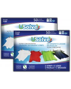 USolve™ Laundry Detergent Strips - Fresh Scent  - 2 x 50 Loads - In Plastic-Free Packaging - (2-PACK, Total 100 Loads)