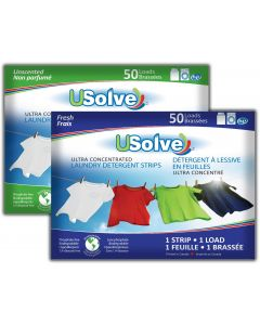 USolve™ Laundry Detergent Strips - Combo  - 2 x 50 Loads - In Plastic-Free Packaging - (2-PACK, Total 100 Loads)