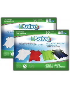 USolve™ Laundry Detergent Strips - In Plastic-Free Packaging  - 2 x 50 Loads  - Fragrance Free (2-PACK, Total 100 Loads)